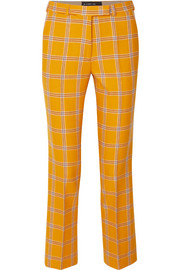 Checked wool straight-leg pants