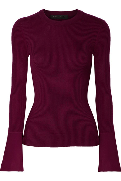 Proenza Schouler - Ribbed Silk-blend Sweater - Burgundy