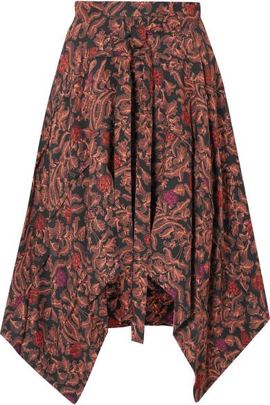 Asymmetric Floral-Print Crepe De Chine Midi Skirt in Brick
