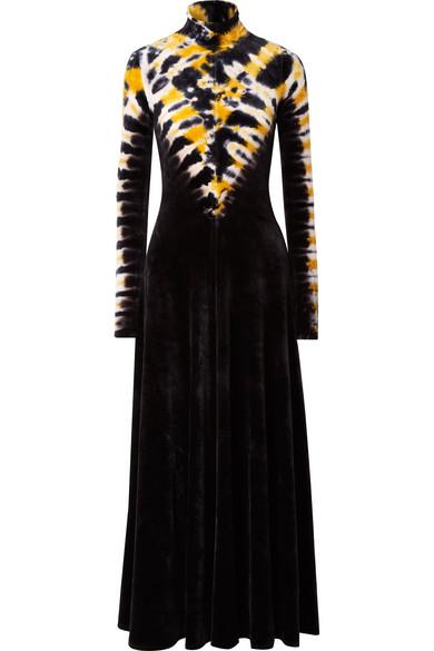 Turtleneck Long-Sleeve DegradÉ Velvet Long Dress in Navy