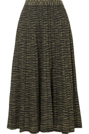 Pleated jacquard-knit midi skirt