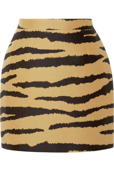 Proenza Schouler - Tiger-print Wool And Silk-blend Jacquard Mini Skirt - Zebra print