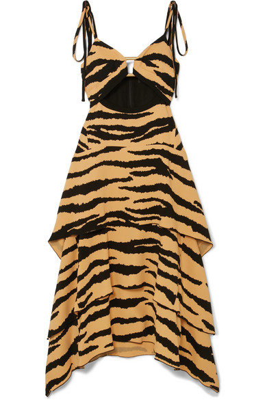Tiered Tiger-Print Crepe Maxi Dress in Brown