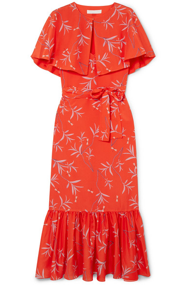Margarita Cape-Effect Floral-Print Crepe Maxi Dress in Red