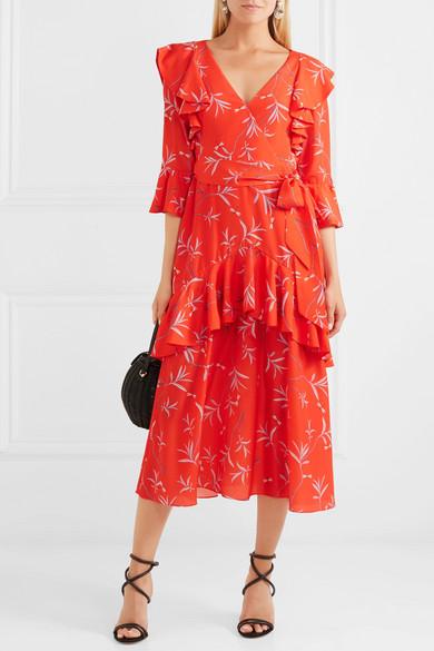 Aiana Ruffled Printed Crepe De Chine Midi Dress - Red Borgo De Nor JMavdo