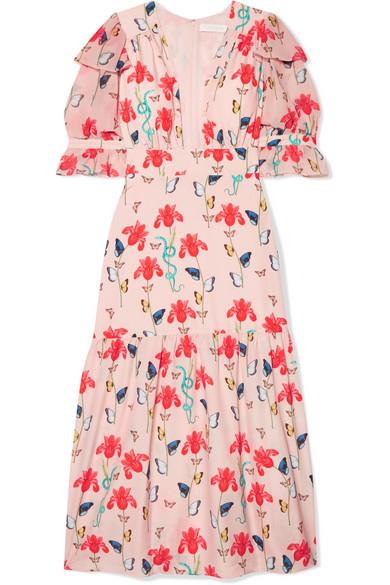 Dahlia Printed Crepe De Chine Midi Dress in Pink