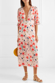 Dahlia printed crepe de chine midi dress