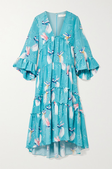 Borgo De Nor - Iris Ruffle-trimmed Printed Crepe De Chine Maxi Dress - Sky blue