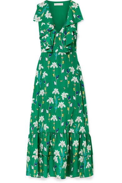 Carlotta Ruffled Printed Crepe De Chine Maxi Dress in Dark Green