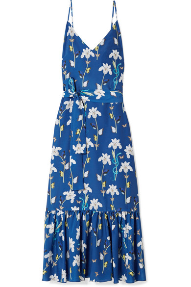 Borgo De Nor - Margarita Printed Crepe De Chine Maxi Dress - Blue
