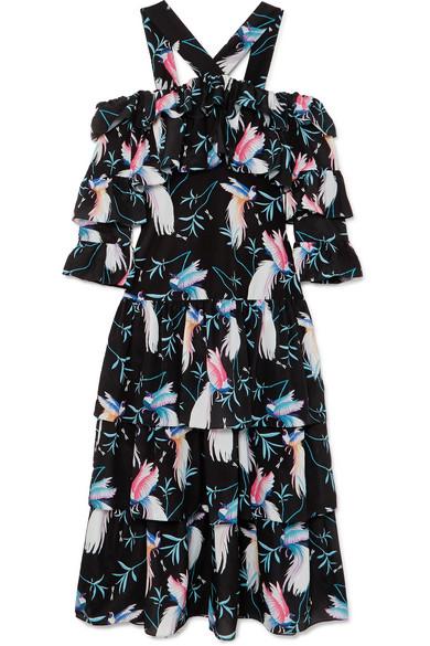 BORGO DE NOR Halter-Neck Cold-Shoulder Bird-Print Tiered Ruffle Maxi Dress in Black