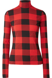 Proenza Schouler PSWL checked stretch-cotton jersey turtleneck top