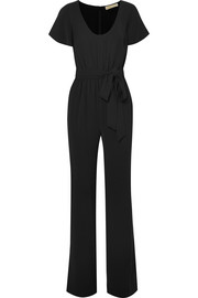 Belted stretch-crepe jumpsuit