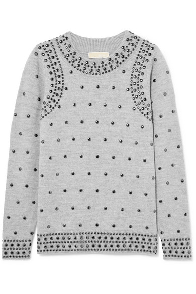Studded Wool And Alpaca-Blend Sweater in Gray