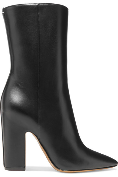 Pointed Toe Black Leather Boots