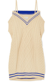 Maison Margiela Oversized off-the-shoulder cable-knit wool-blend midi dress