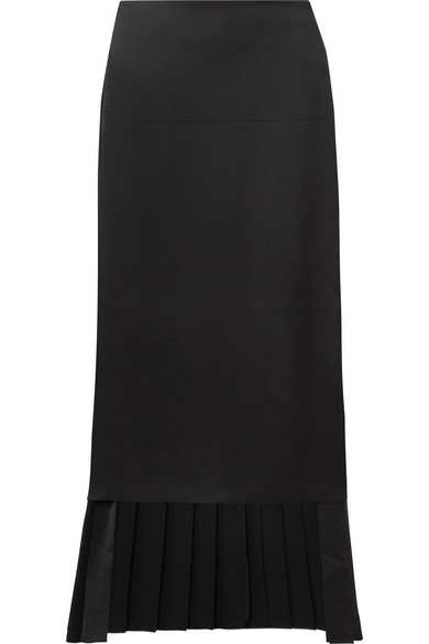 Pencil Skirt With Pleated Back, Black