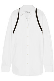 Grosgrain-trimmed cotton-poplin shirt
