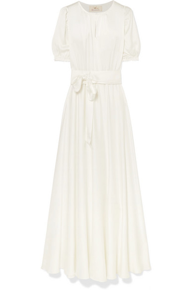 AROSS GIRL X SOLER Brooke Washed-Silk Maxi Dress in Ivory