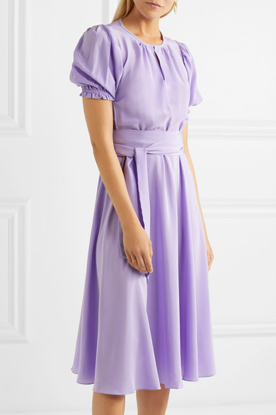 Brooke Belted Silk Crepe De Chine Midi Dress - Lilac ARoss Girl x Soler