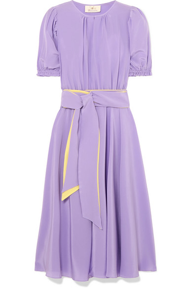 AROSS GIRL X SOLER Brooke Belted Silk Crepe De Chine Midi Dress in Lilac