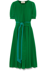 ARoss Girl x Soler Brooke belted silk crepe de chine midi dress