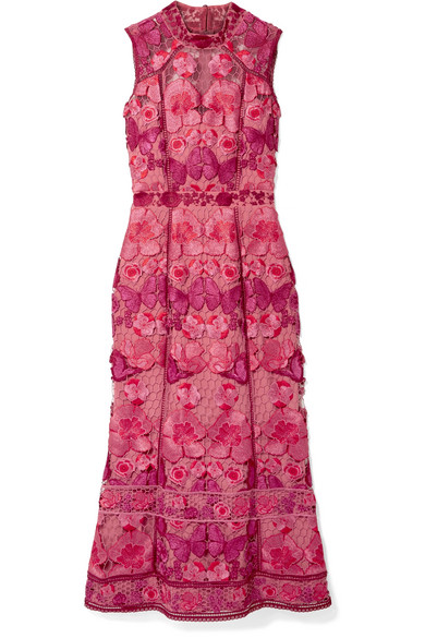 49bb31dce367d Marchesa Notte. Embroidered guipure lace midi dress
