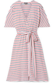 Rose striped cotton-jersey wrap dress