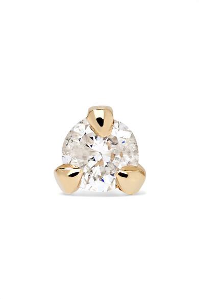 STONE AND STRAND TEENY 14-KARAT GOLD DIAMOND EARRING