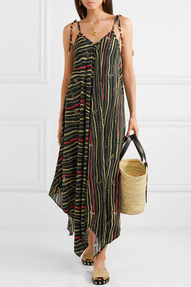 Loewe Dress + Paula's Ibiza asymmetric printed crepe dress