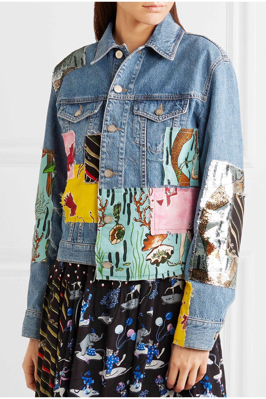 Loewe + Paula's Ibiza sequined patchwork denim jacket