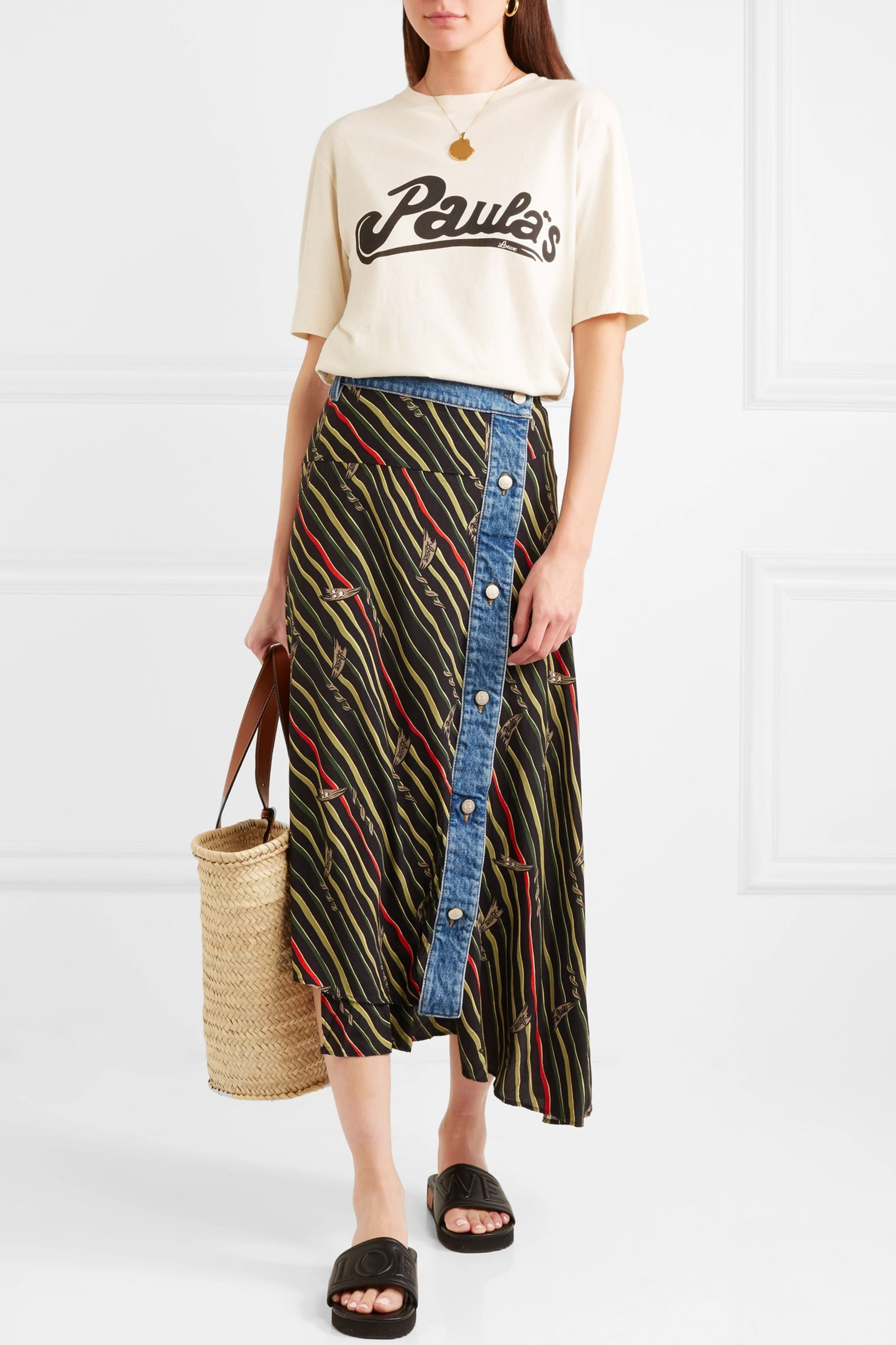 Loewe + Paula's Ibiza oversized printed cotton and silk-blend jersey T-shirt