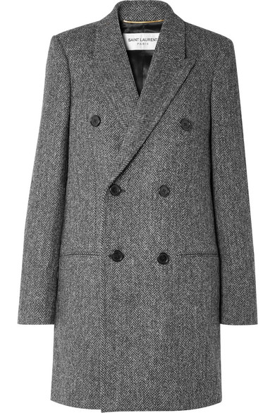 SAINT LAURENT DOUBLE-BREASTED HERRINGBONE WOOL COAT