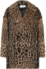 Saint Laurent Double-breasted leopard-print wool-blend coat