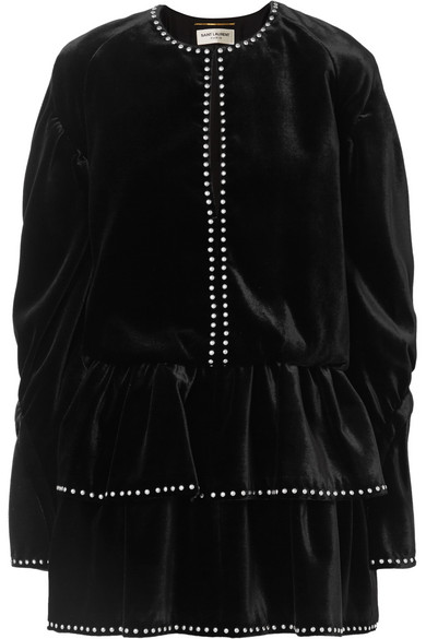 Studded Ruffled Velvet Mini Dress, Black