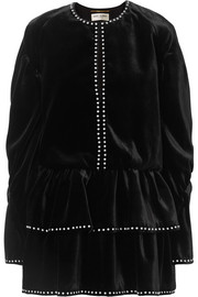 Saint Laurent Studded ruffled velvet mini dress
