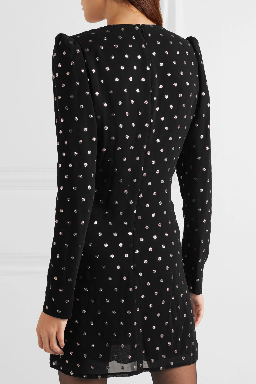 SAINT LAURENT Glittered polka-dot crepe mini dress