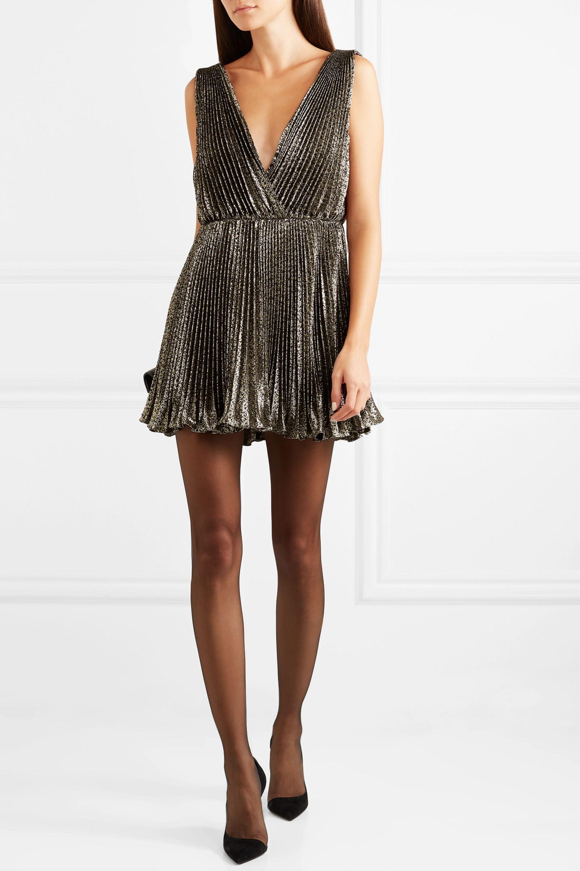 SAINT LAURENT Plissé-lamé mini dress