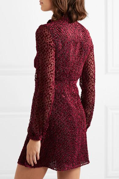 Saint Laurent Dress Pussy-bow devoré-chiffon mini dress
