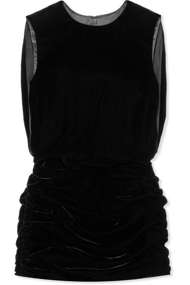 SAINT LAURENT Ruched Velvet Mini Dress, Noir