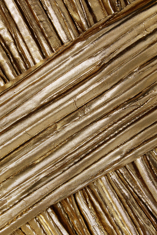 SAINT LAURENT Strapless plissé-lamé mini dress