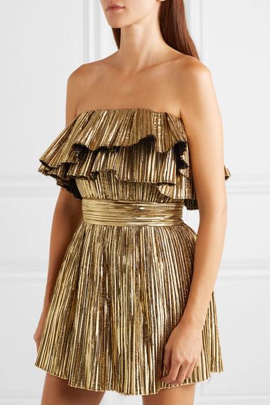 Saint Laurent Dress Strapless plissé-lamé mini dress