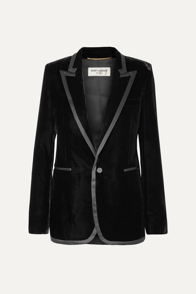 Satin Trimmed Velvet Blazer by Saint Laurent