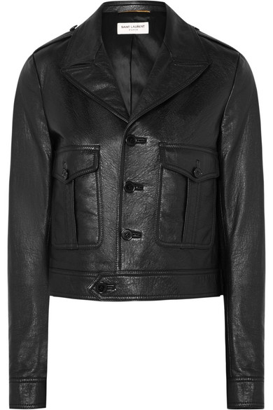 Lambskin Leather Jacket in Black
