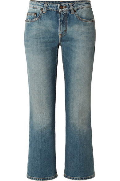 SAINT LAURENT CROPPED MID-RISE FLARED JEANS