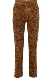 Saint Laurent Leopard-print high-rise slim-leg jeans