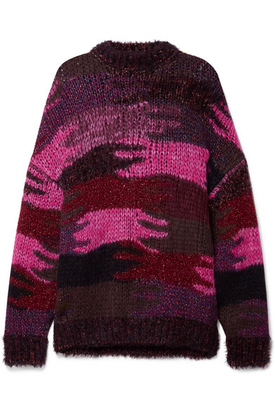 Crewneck Camo Patchwork Mohair-Blend Sweater, Red Pattern in Pink