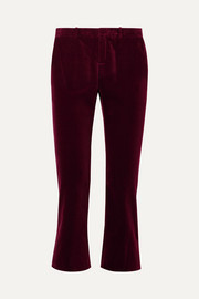 Cropped cotton-velvet flared pants