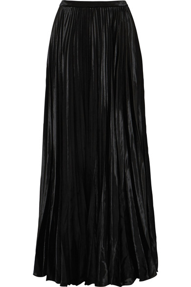 Plissé Velvet Maxi Skirt by Saint Laurent