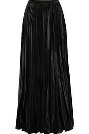 Saint Laurent Plissé-velvet maxi skirt